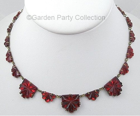 vintage red Vauxhall glass necklace