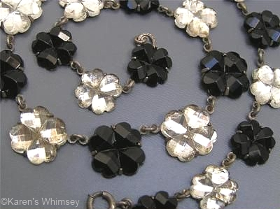 black and white flower Vauxhall glass necklace