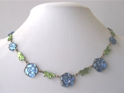 blue and green floral Vauxhall glass art deco era necklace