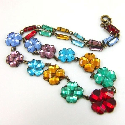 vintage rainbow multicolor flowers Vauxhall glass necklace