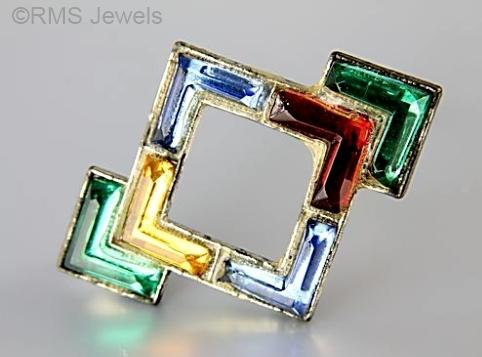art deco geometric multicolor Vauxhall glass brooch