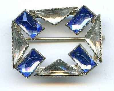 art deco blue and clear Vauxhall glass brooch