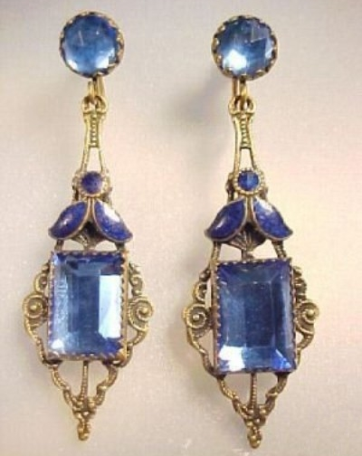 1930s blue Vauxhall glass drop earrings