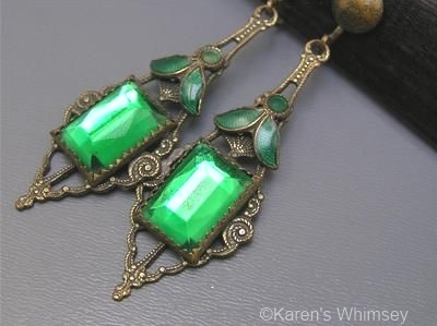 1930s green Vauxhall glass drop earrings