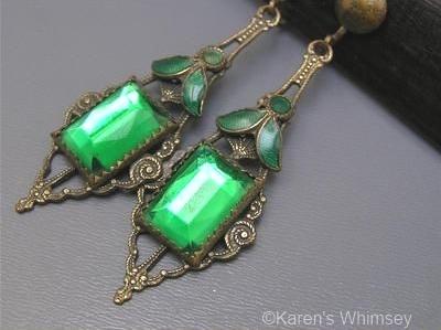 1930s green Vauxhall glass drop earrings