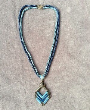 1930s blue enamel art deco necklace