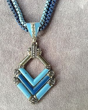 blue necklace detail