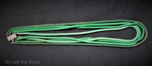 1930s multi strand green enamel box chain necklace