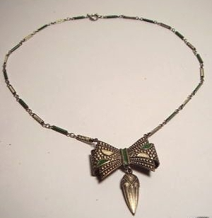 art deco green and cream enamel bow necklace