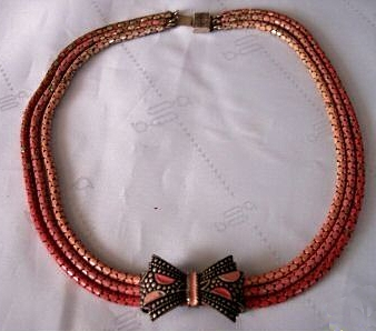 1930s art deco red enamel snake chain bow necklace