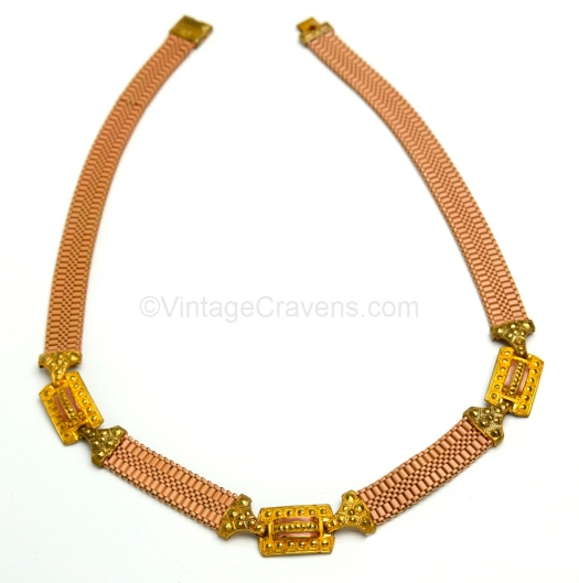 goldtone and mocha enamel mesh necklace at VINTAGE CRAVENS on Etsy