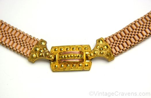 goldtone and mocha enamel necklace detail