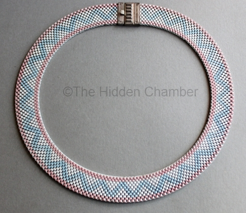 01 pink and blue zigzag enamel 1930s mesh choker from THE HIDDEN CHAMBER on Etsy