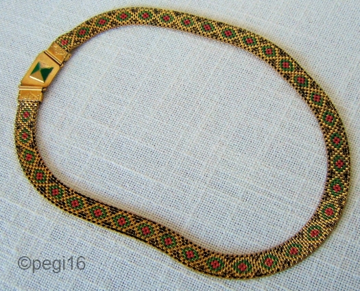 01a vintage 1930s deco enamel mesh necklace at PEGI16 on Etsy