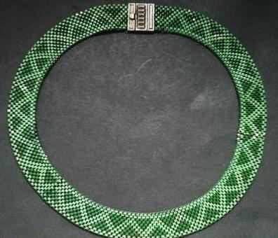 02 green 1930s art deco enamel mesh choker necklace
