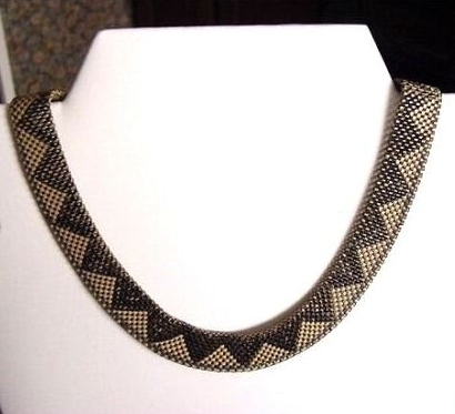 03 black enamel and silvertone art deco mesh necklace