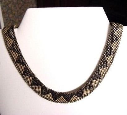 03 black enamel and silvertone art deco mesh necklace