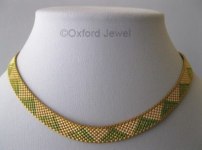 04 green and white enamel mesh art deco choker necklace
