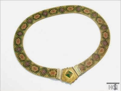 art deco 1930s multicolor patterned mesh choker with front clasp