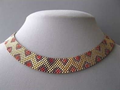 06 red and brown snakeskin pattern enamel mesh art deco necklace