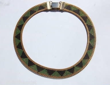 green and black patterned mesh 1930s necklace with replacement clasp