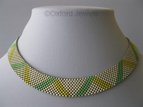 07 green yellow white enamel art deco 1930s necklace