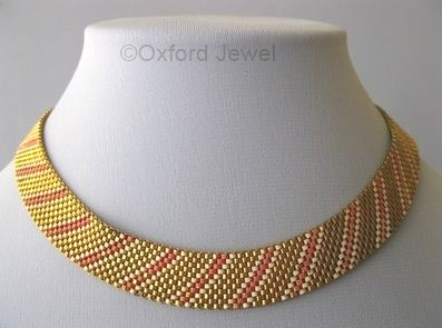 08 pink white enamel on goldtone mesh choker art deco 1930s