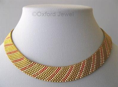 08 pink white enamel on goldtone mesh choker art deco 1930s