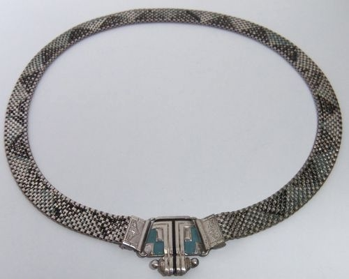 machine age front clasp mesh necklace view 2