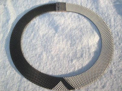 09 silvertone and black enamel 1930s art deco mesh necklace