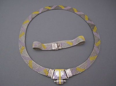 art deco machine age enamel mesh necklace and bracelet set 1930s