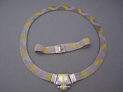 art deco machine age enamel mesh necklace and bracelet set 1930s