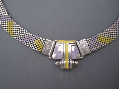 art deco purple and yellow enamel mesh necklace with machine age front clasp