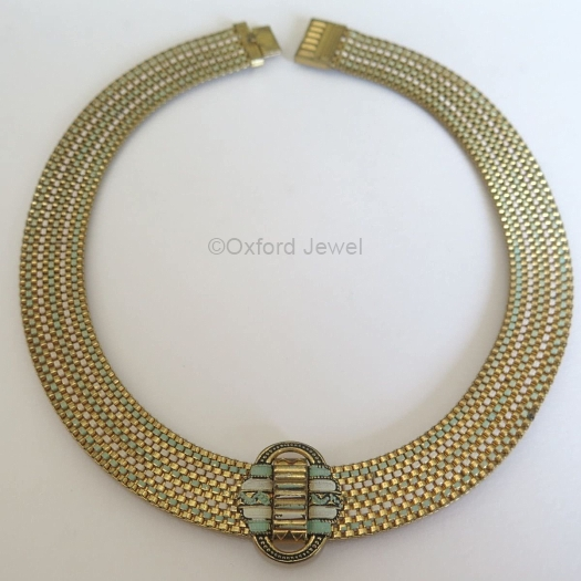 10 green and white enamel 1930s art deco mesh chain choker necklace