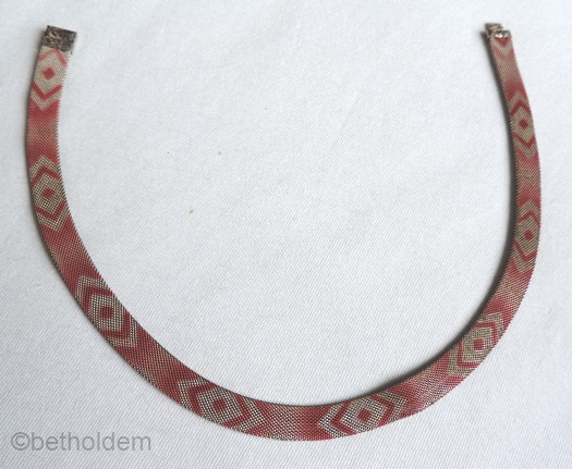 13 red enamel pattern silver tone mesh necklace 1930s art deco