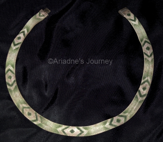 14 green enamel patterned mesh 1930s art deco necklace at ARIADNESJOURNEY on Etsy