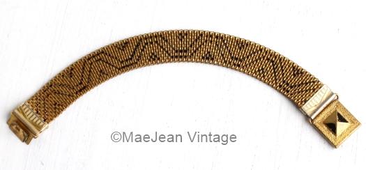 1930s black enamel geometric pattern hidden clasp bracelet from MaeJean Vintage