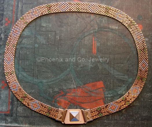 art deco multicolor pattern enamel mesh choker necklace at PHOENIX and CO JEWELRY on Etsy