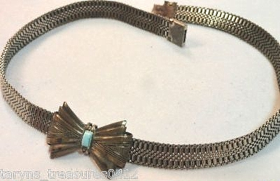 S1 mesh choker with bow and faux turquoise glass baguette
