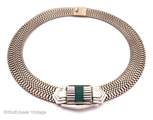 S2 art deco mesh choker with ribbed glass accent at IFINDUSEEK VINTAGE on Etsy