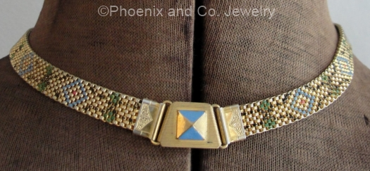 vintage 1930s deco patterned enamel choker at PHOENIX and CO JEWELRY on Etsy