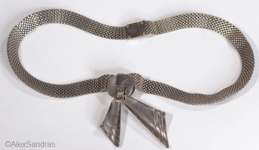 1930s deco mesh necklace with bow at ALEXSANDRAS view 2