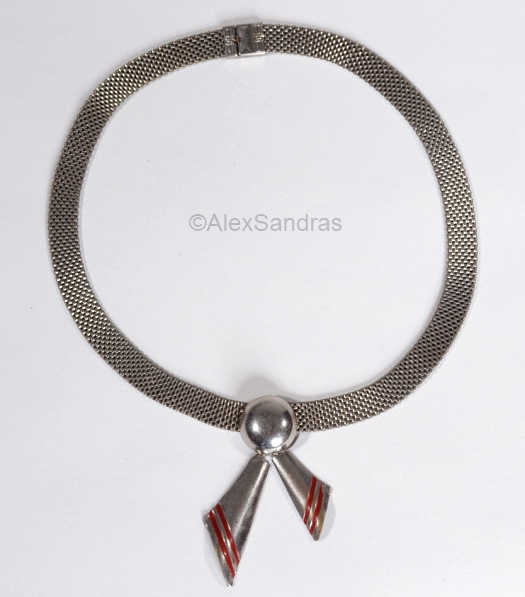 1930s deco mesh necklace with bow tails at ALEXSANDRAS