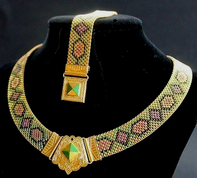 art deco multicolor enamel mesh necklace bracelet set 1930s