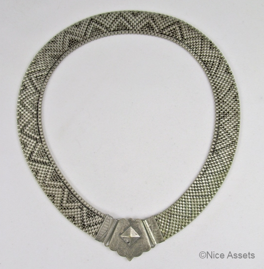 black on silvertone 1930s mesh choker from NICE ASSETS on Etsy