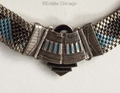 blue and black clasp detail