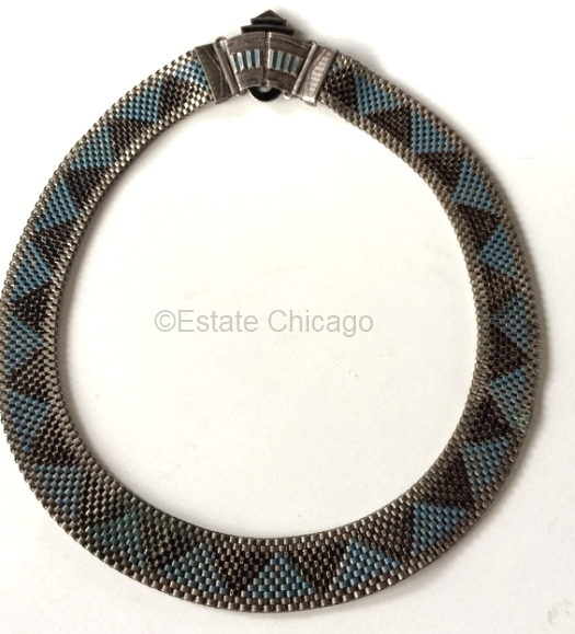 blue and black enamel 1930s choker at ESTATE CHICAGO on Etsy