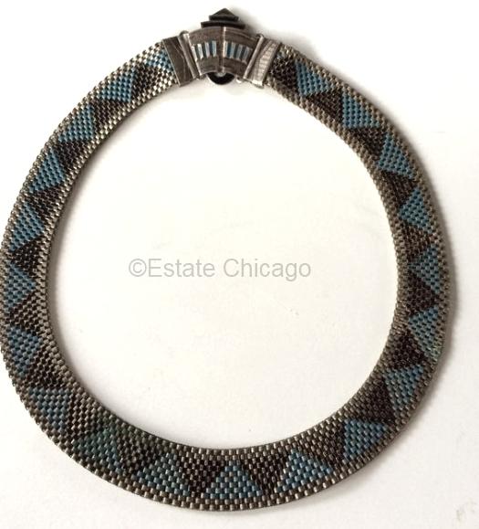 blue and black enamel 1930s choker at ESTATE CHICAGO on Etsy