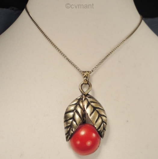 1930s double leaf pendant with red glass stone berry view 1