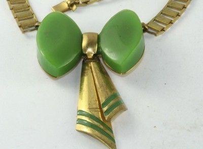 green bakelite bow detail